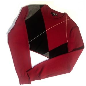 Express Re-worked Cut Crop Wool Crew Sweater Red